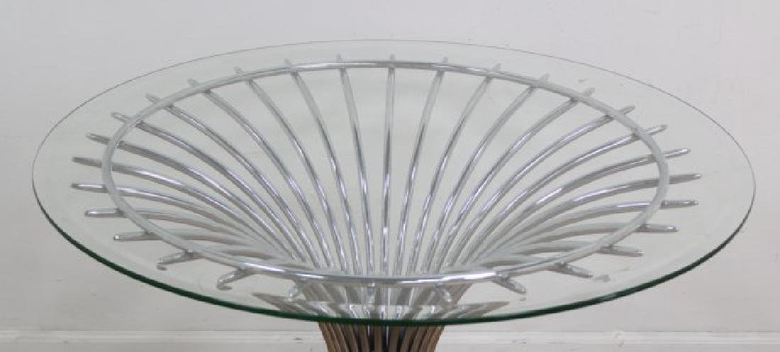 :Round Chrome Base Beveled Glass Top Table - 3