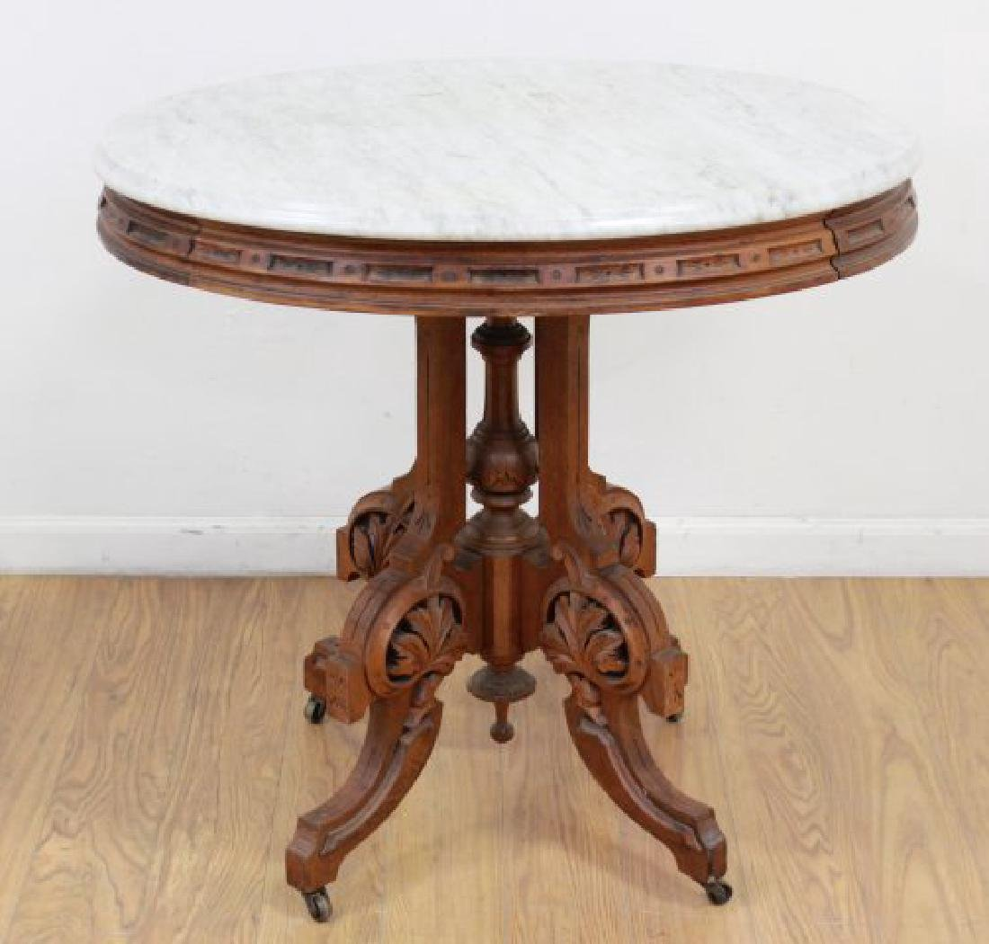 Marble Top Victorian Oval Table