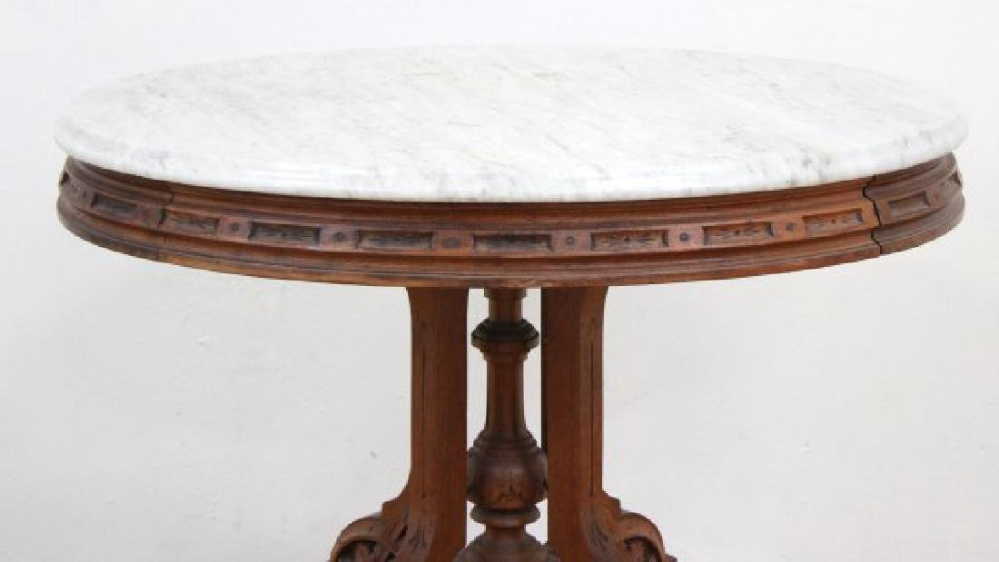 Marble Top Victorian Oval Table - 3