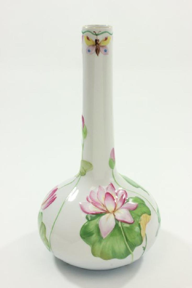 Herend Porcelain Art Nouveau Floral Decorated Vase