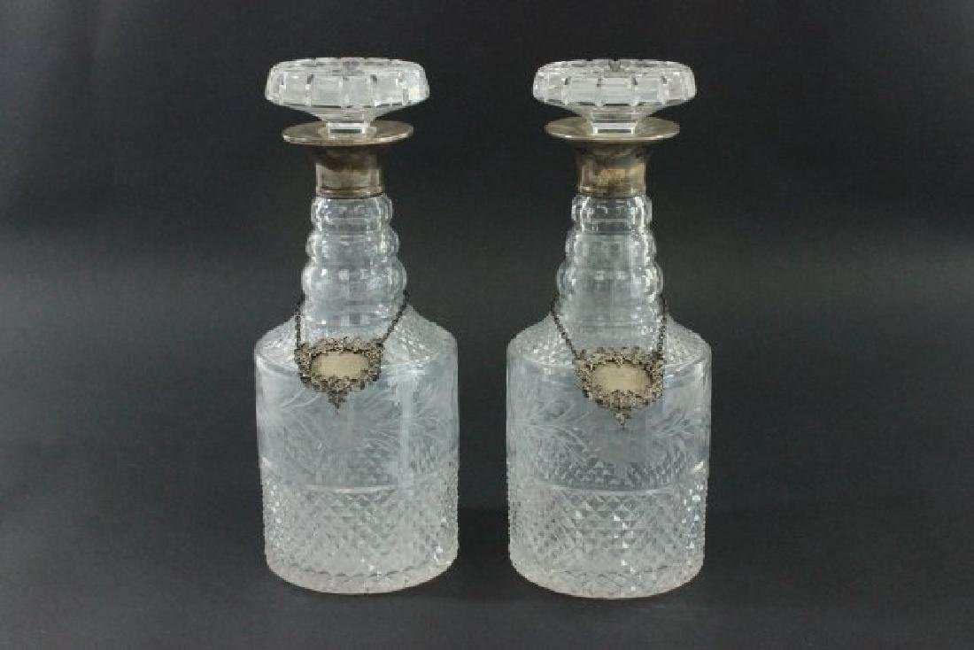 Pair Etched Glass Decanters