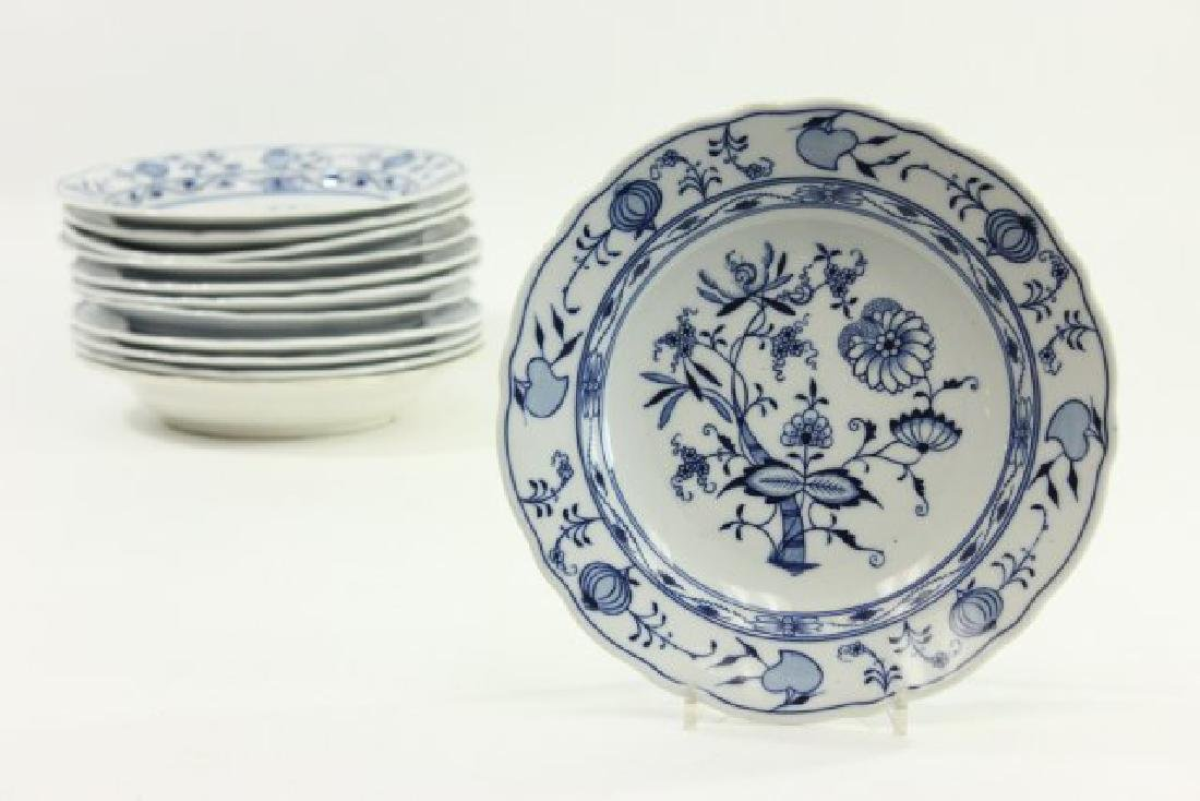 12 Meissen Soup Plates with Onion Pattern