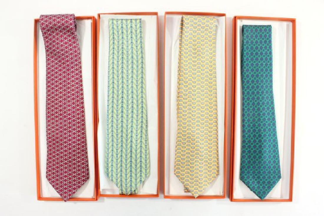 4 Hermès Paris Geometric Silk Ties, New in Box