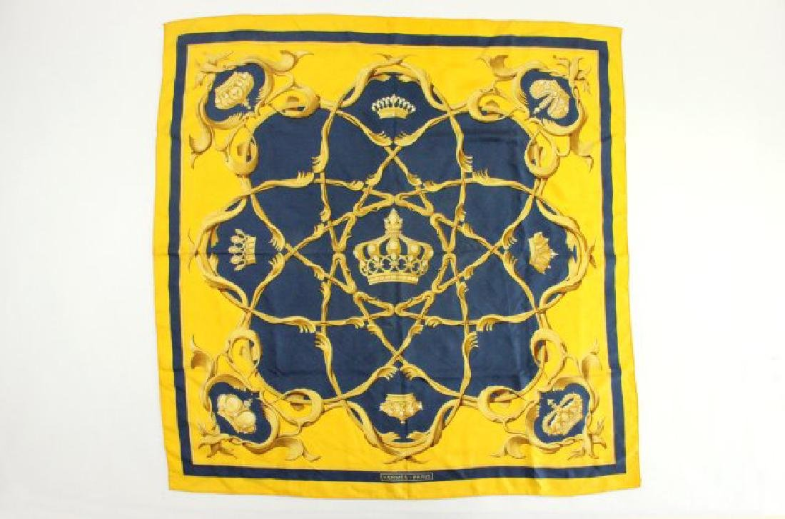 "Hermès Paris ""Couronnes"" Crowns Silk Scarf"