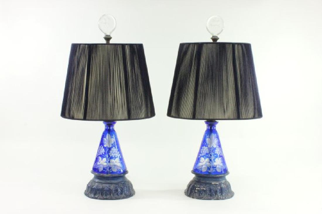Pair Blue Cut to Clear Lamps