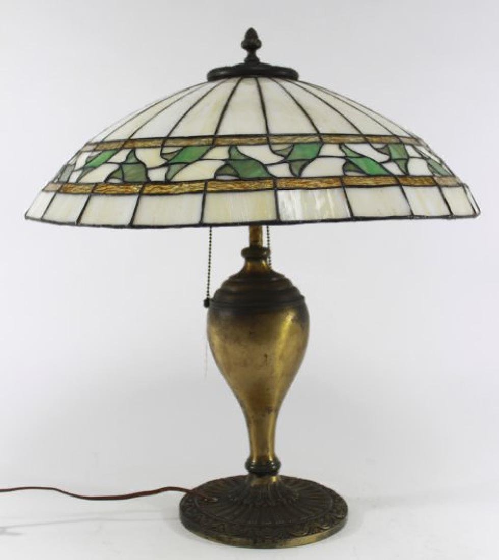 Circa 1920s Stained Glass Table Lamp