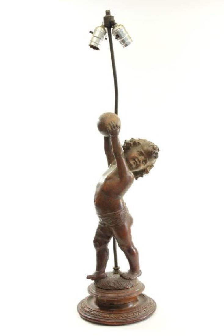Carved Wood Italian Child with Ball