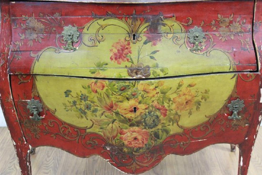 Venetian Style Paint Decorated Bombe Commode - 2