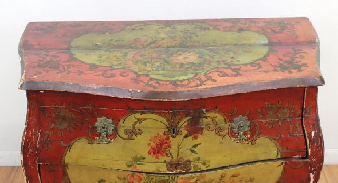 Venetian Style Paint Decorated Bombe Commode - 3