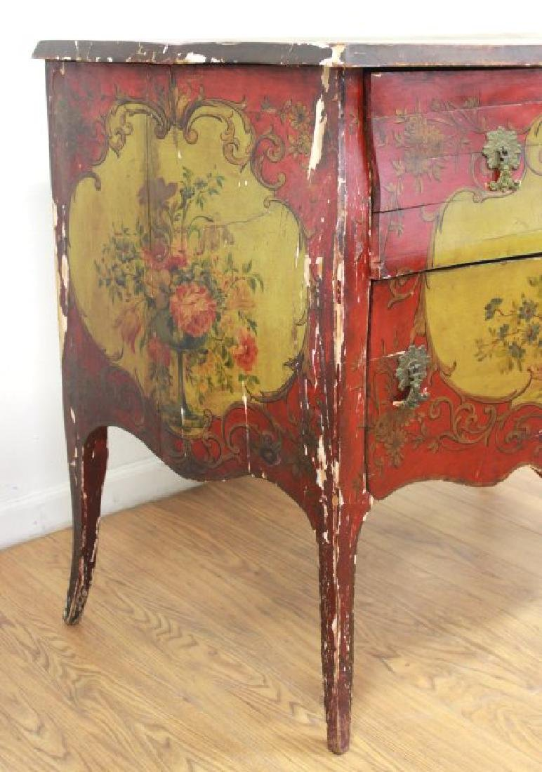 Venetian Style Paint Decorated Bombe Commode - 5