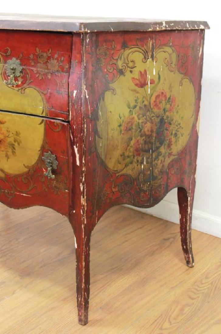Venetian Style Paint Decorated Bombe Commode - 6