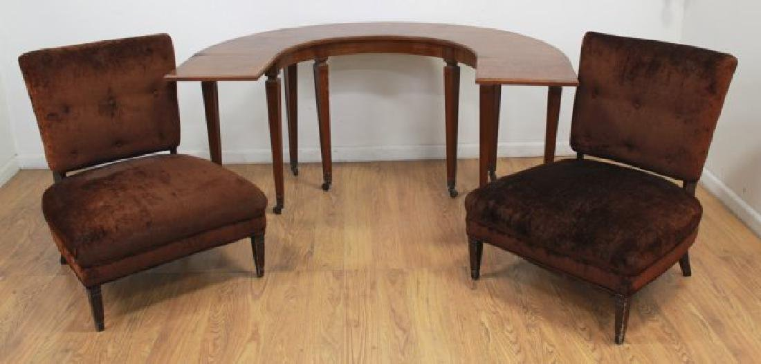 Half Moon Hunt Table/Desk & Pair Chairs