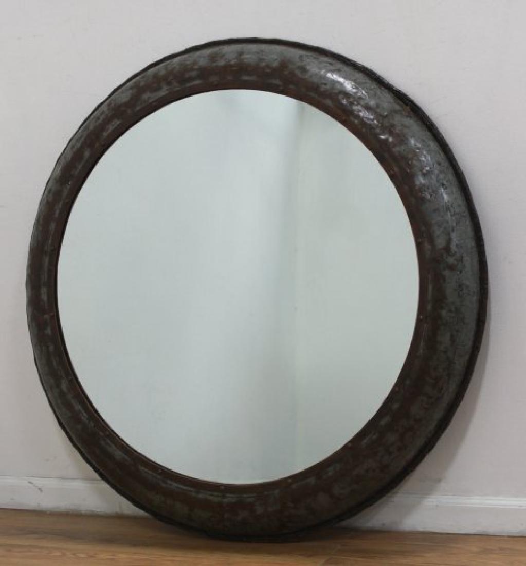 Round Industrial Metal Mirror
