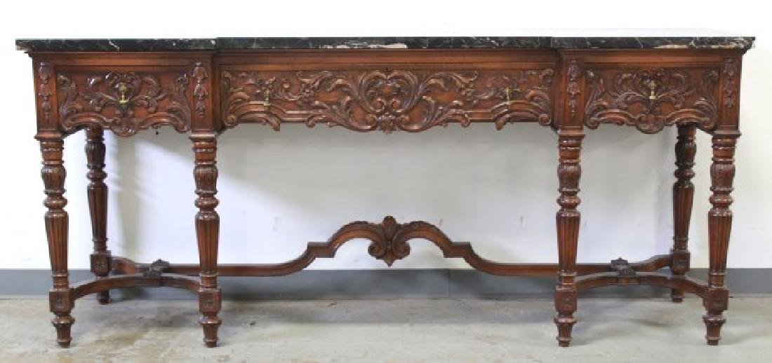 Circa 1920s Marble Top Carved Walnut Sideboard