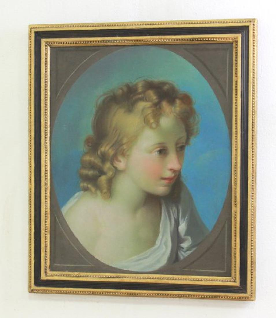 Antique Painting of Young Girl