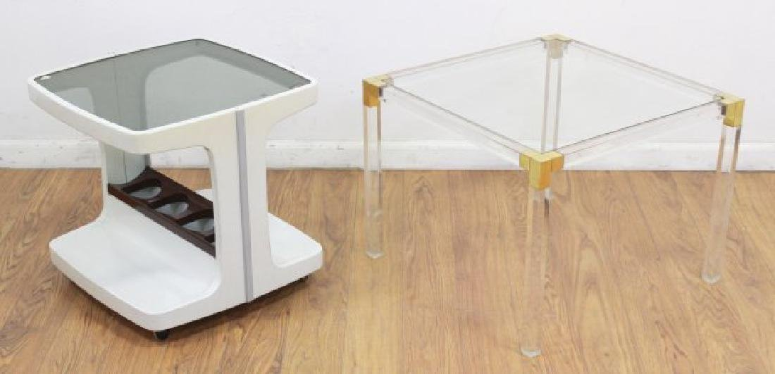 2 Mid-Century Modern Lucite & Glass Top End Tables