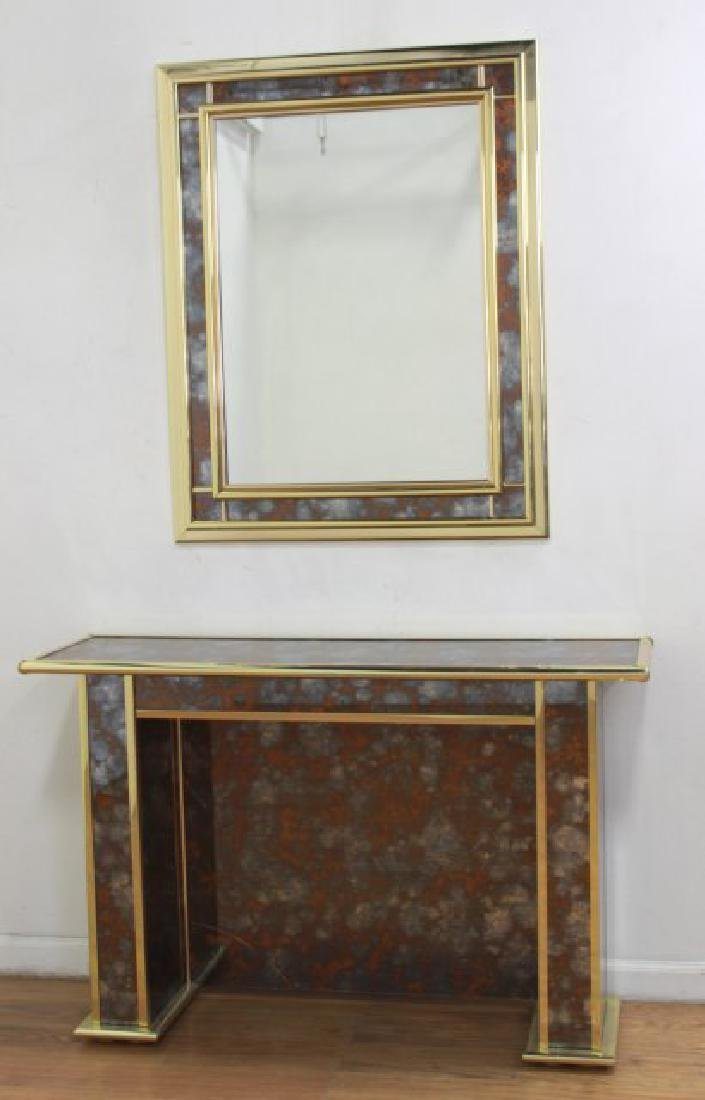 Modern Mirrored Console with Mirror