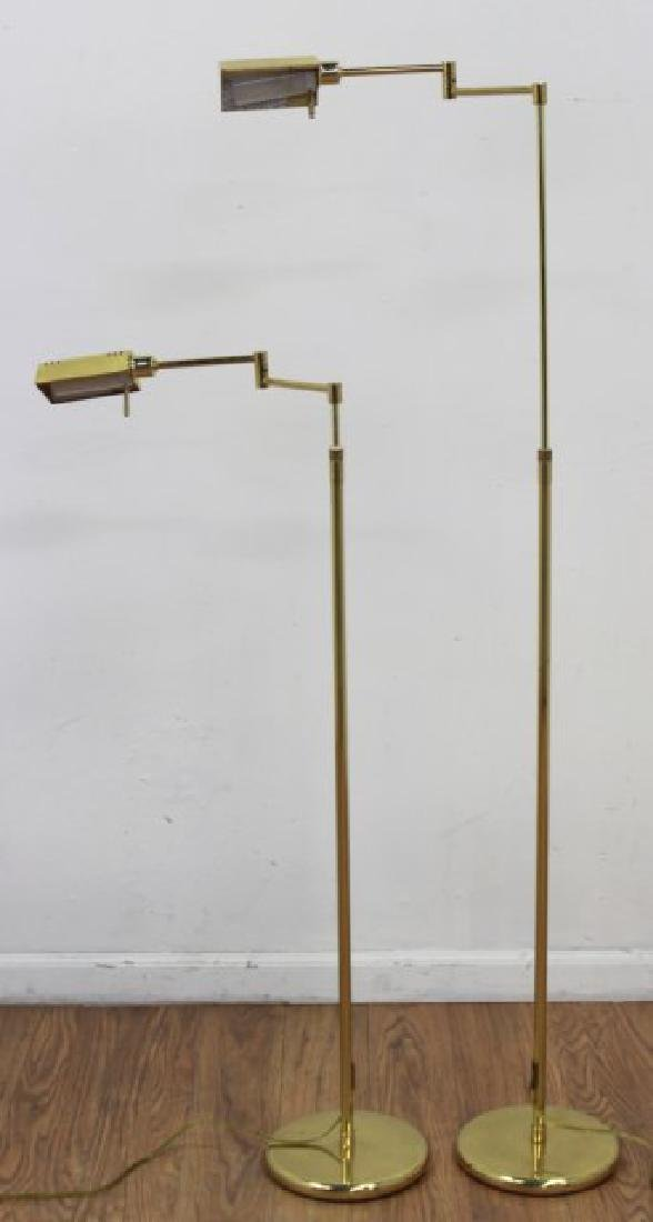 Pair Brass Adjustable Floor Lamps