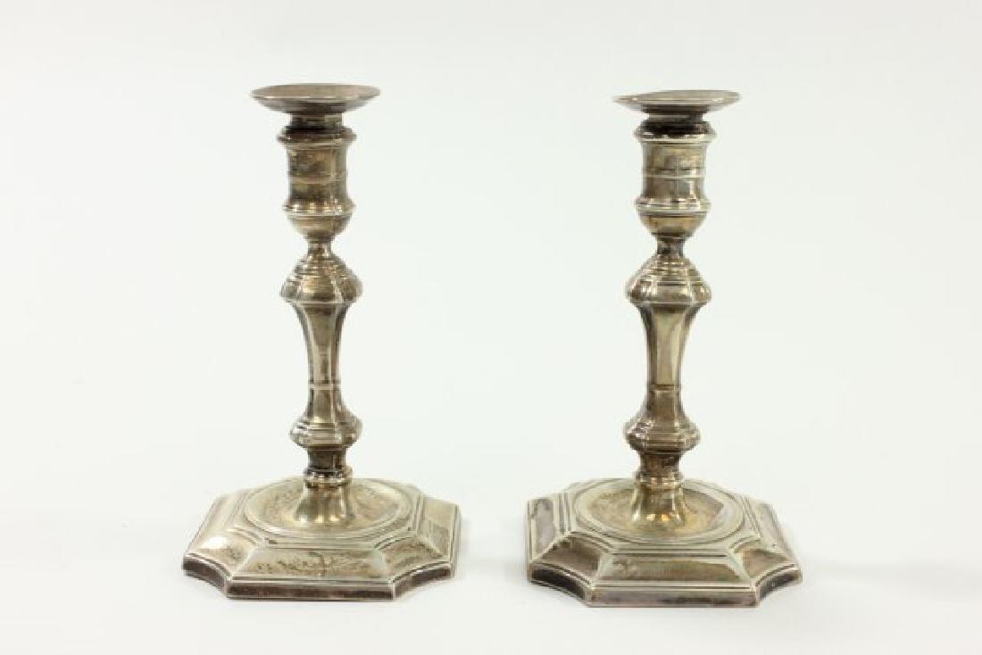 Pr Miniature English Sterling Silver Candlesticks