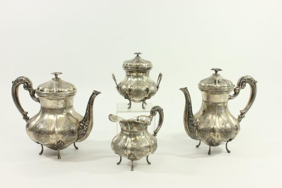 4-Piece 800 Silver Tea & Coffee Service