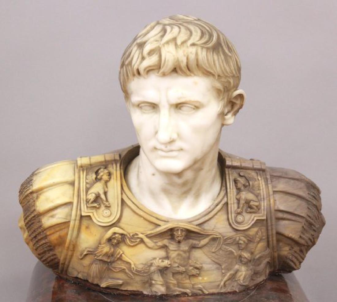 19th Century 2-Tone Marble Bust of Augustus Caesar