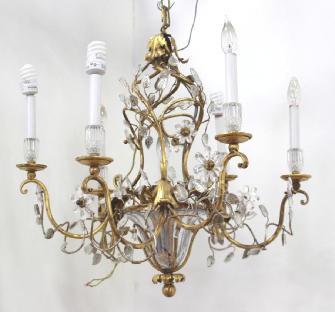 Maison Bagues Style Gilt Metal & Glass Chandelier