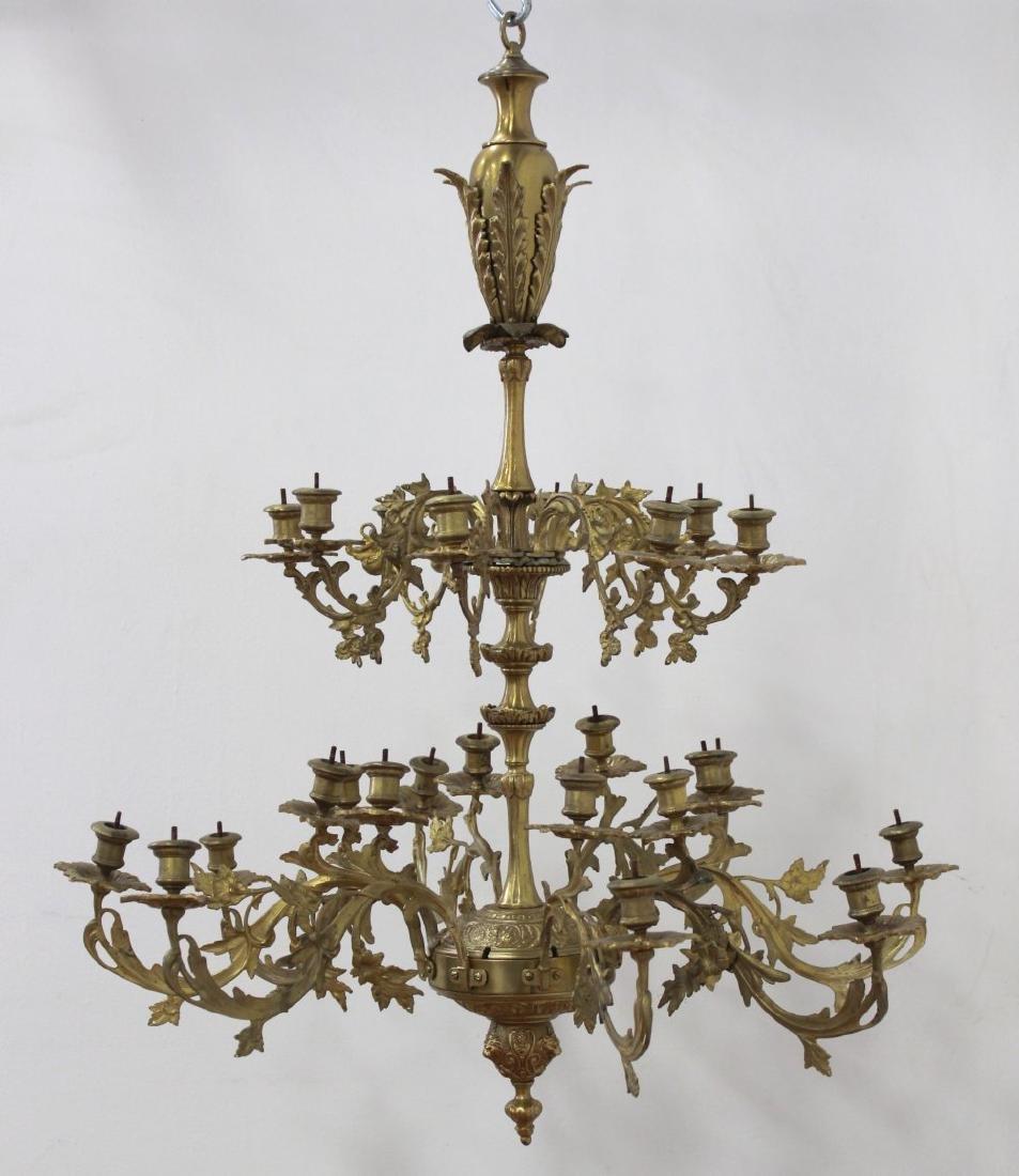 Louis XV Style Gilt Brass 24-Light Chandelier