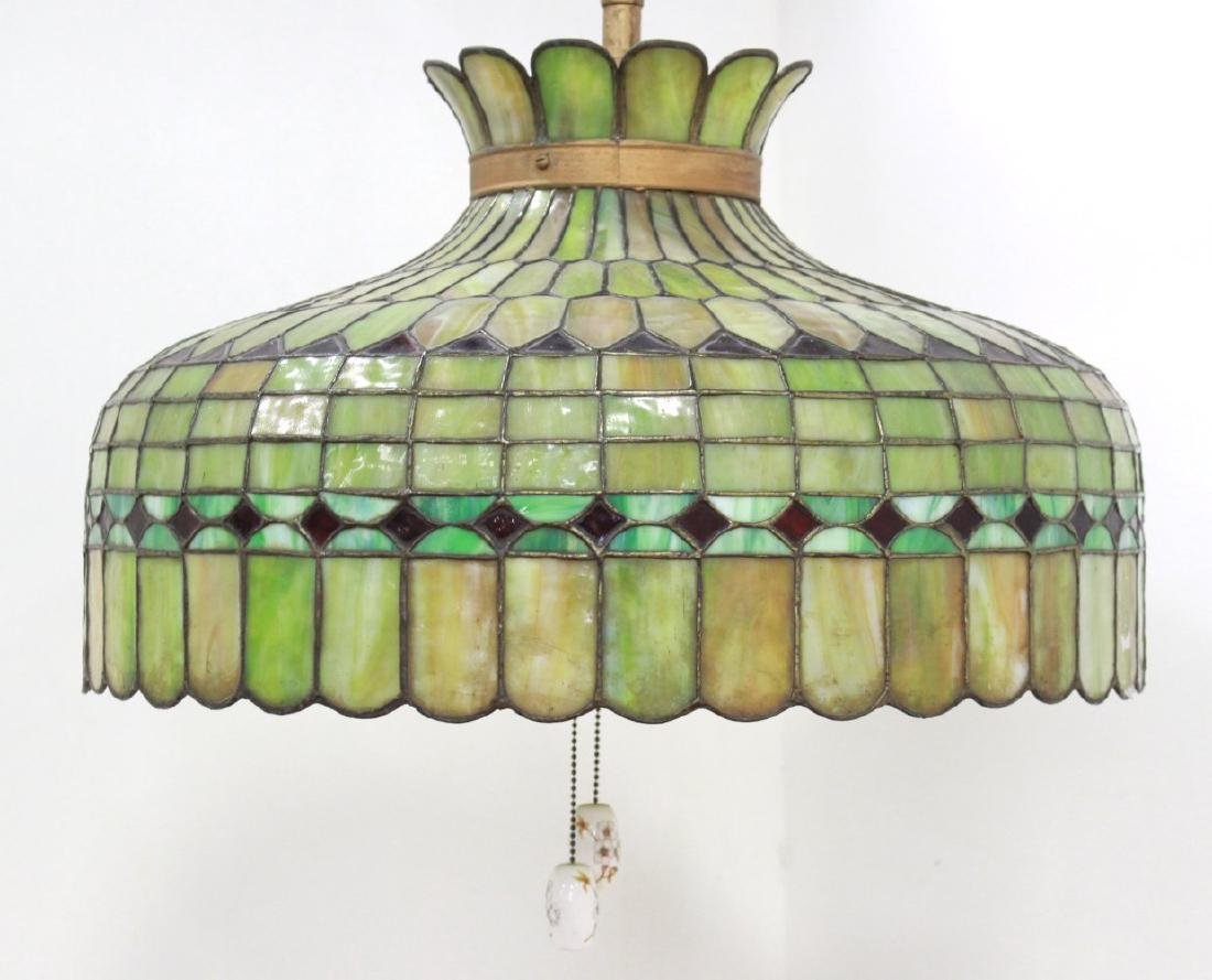 Tiffany Style Leaded Glass Shade/Hanging Fixture