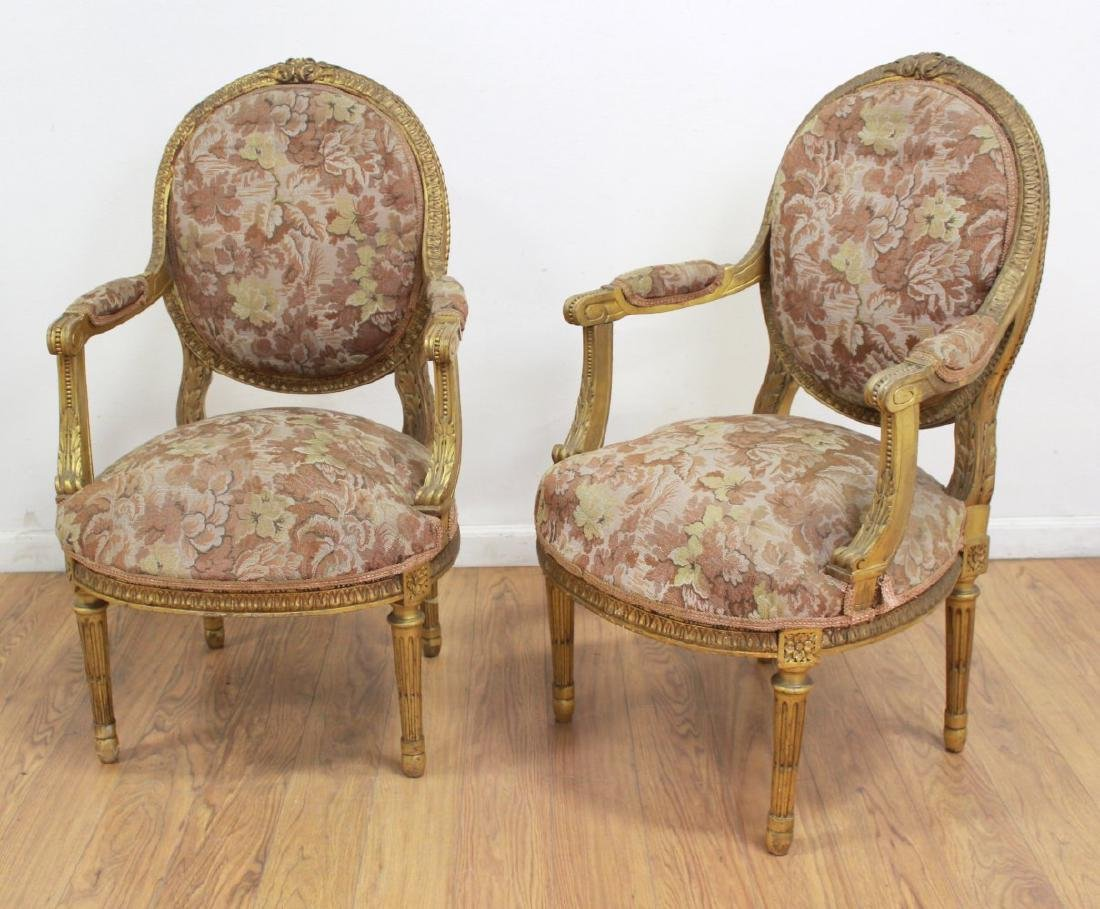 Pair Louis XVI Style Giltwood French Fauteuils