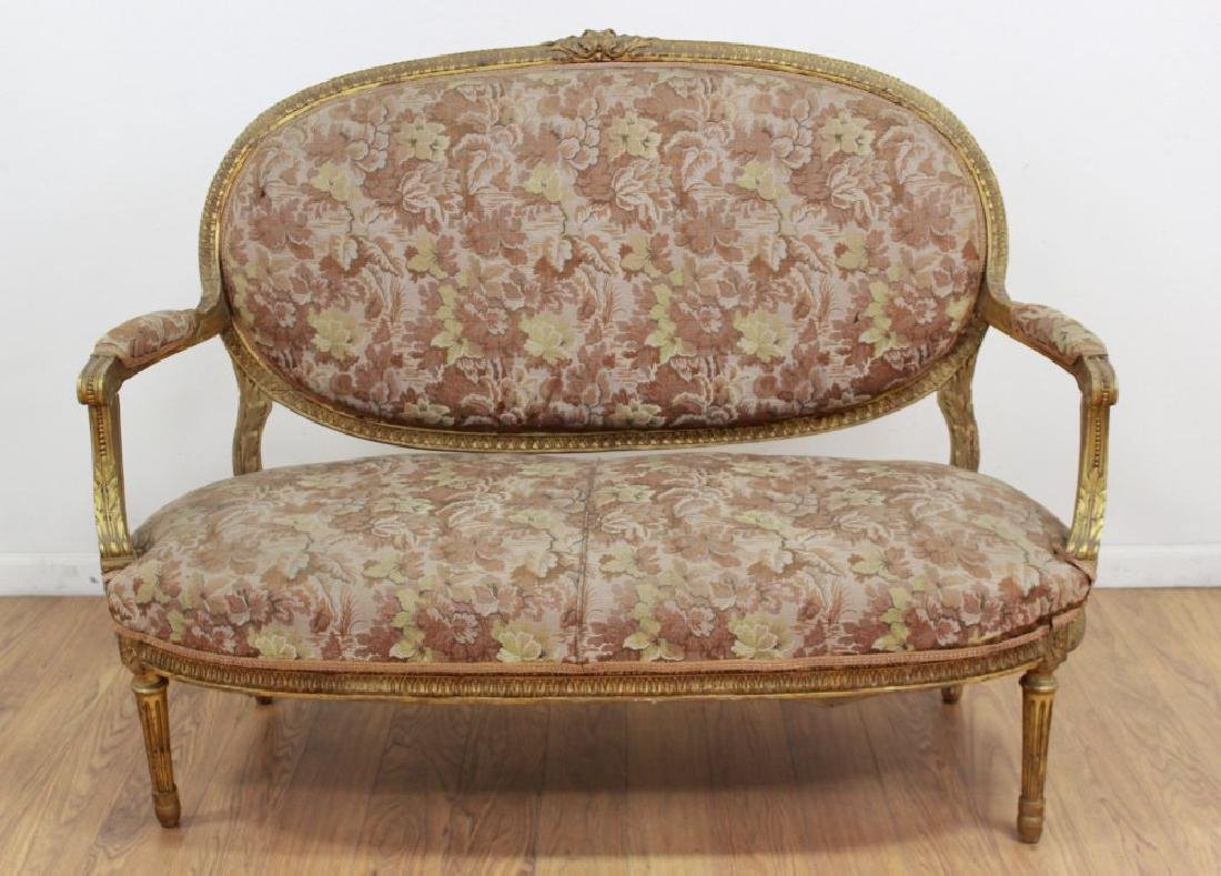 Louis XVI Style Giltwood French Loveseat