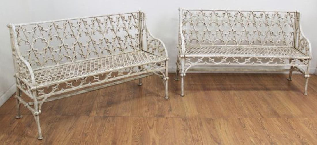 Pair Cast Iron Gothic Style Benches