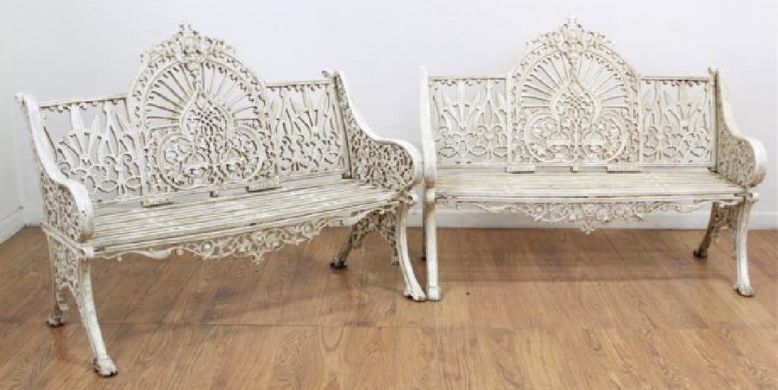 Pair Victorian Cast Iron Benches