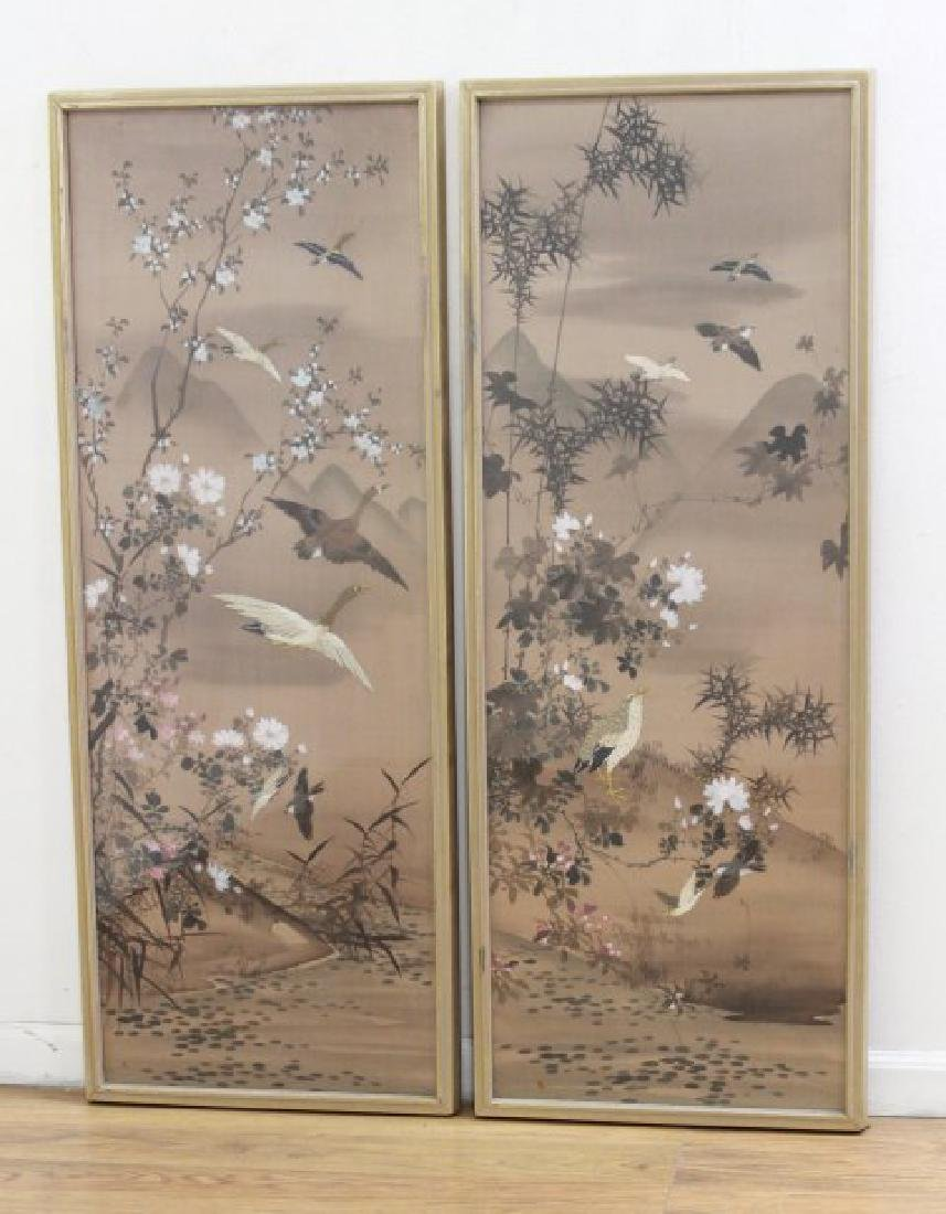 Pair Chinese Watercolors on Silk
