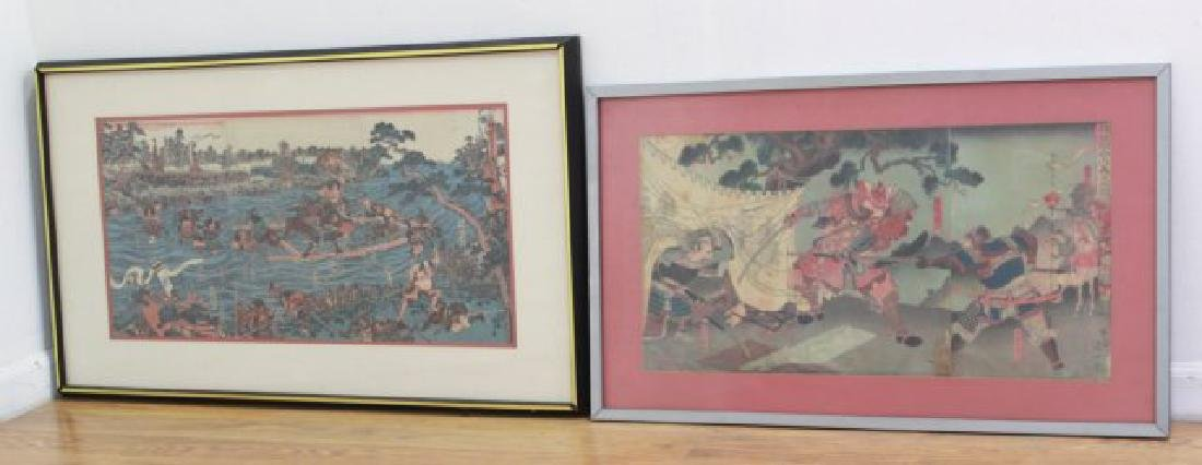 2 Japanese Woodblock Triptychs