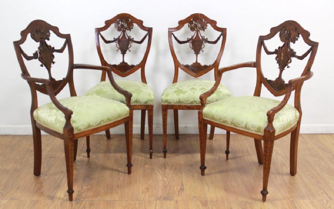 4 Edwardian Style Shield Back Satinwood Chairs