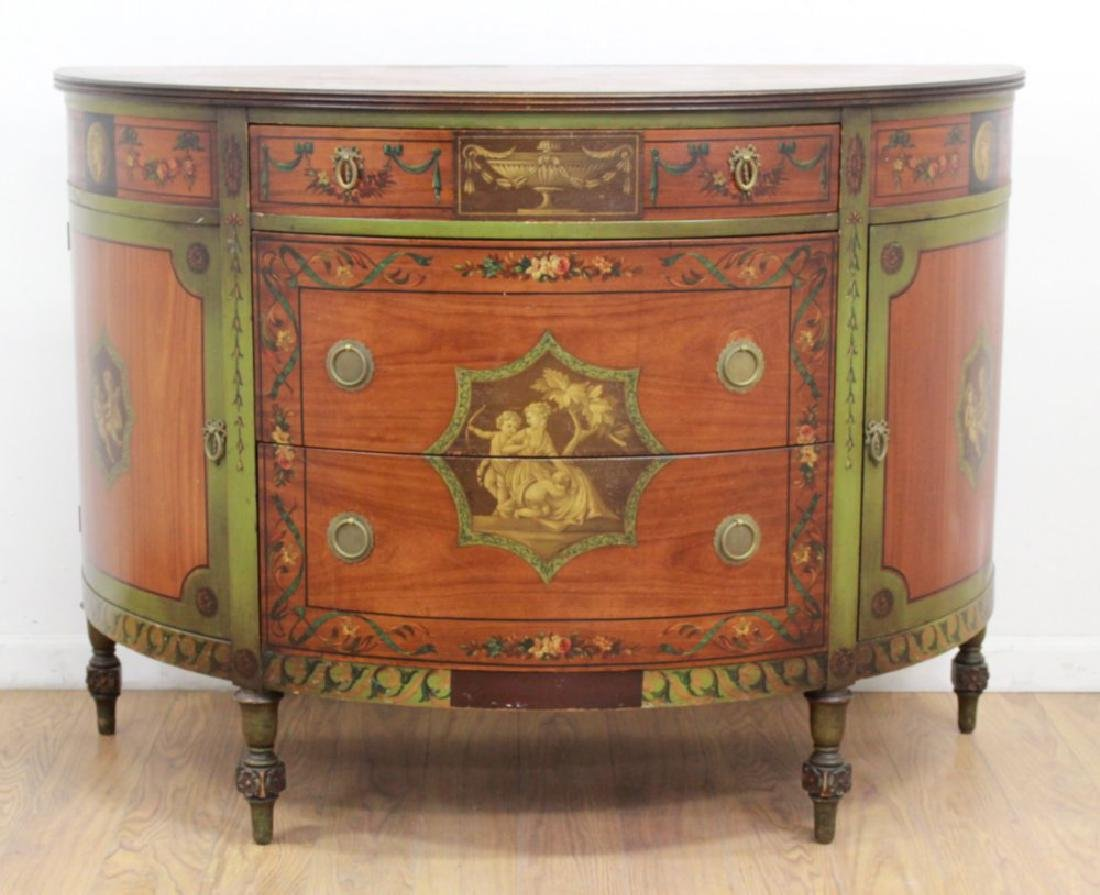Adams Style Painted Demilune Commode