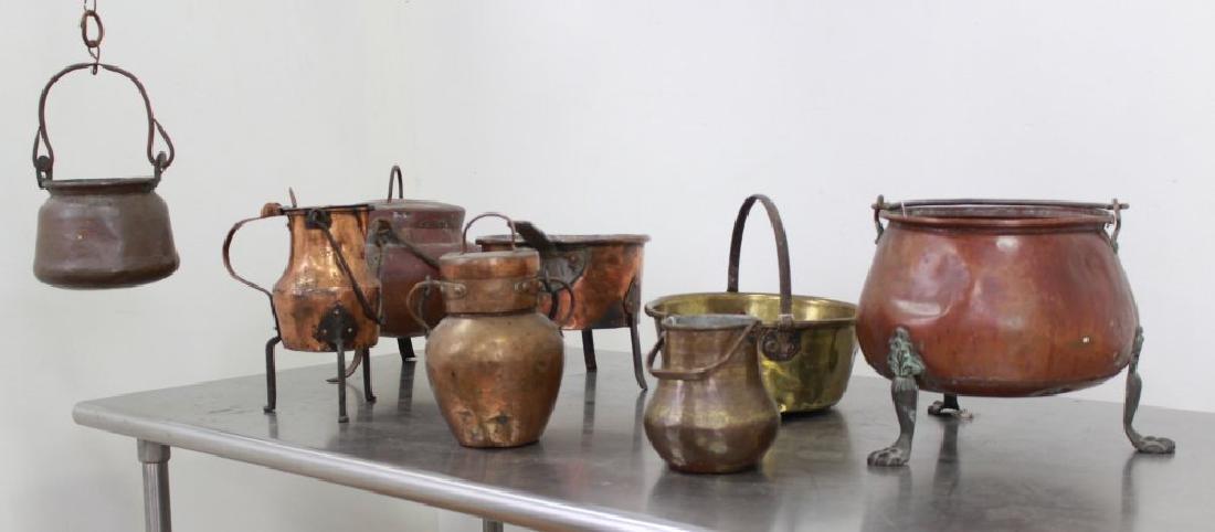 8 Antique & Primitive Copper & Brass Pieces