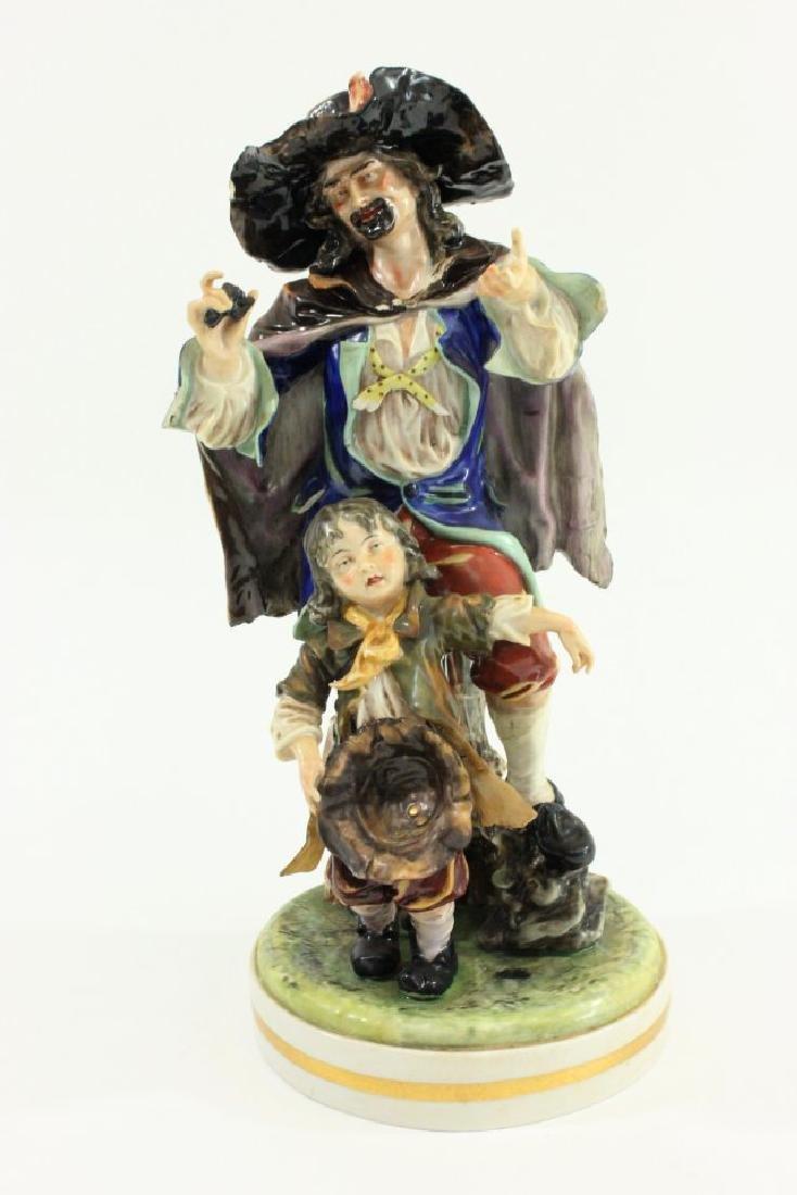 Capodimonte Porcelain Figurine of Man with Child