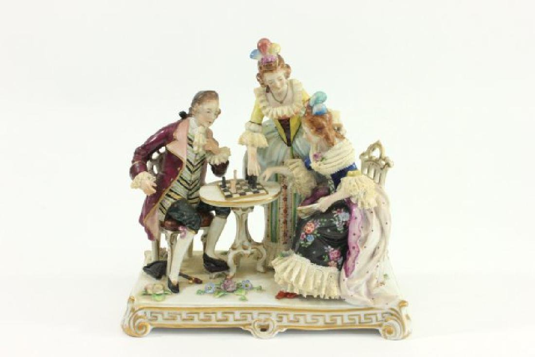 """Dresden Porcelain Grouping, """"Chess Players"""""""