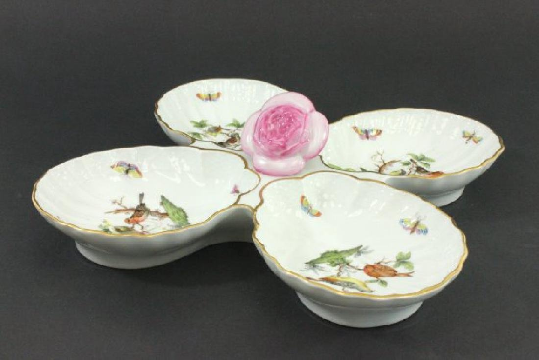 Herend H Sectioned Clamshell Shaped Serving Dish