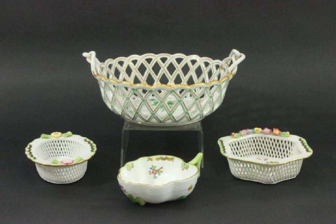 Herend Porcelain Fruit Bowl & 3 Small Bowls