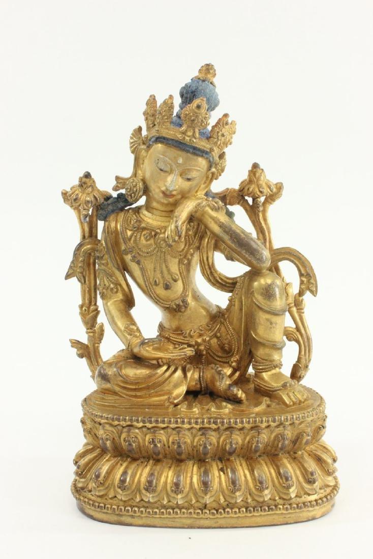 Chinese Gilt Bronze Bodhisattva