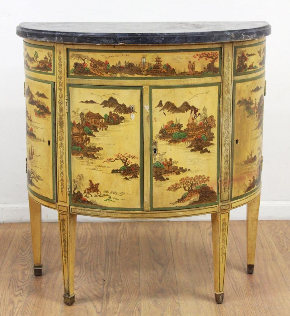 Marble Top Demilune Chinoiserie Louis XVI Commode
