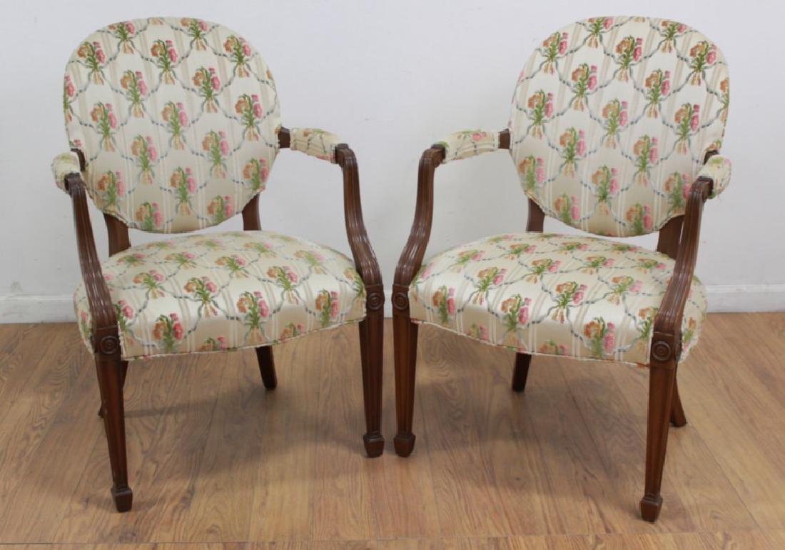 Pair English Style Mahogany Armchairs