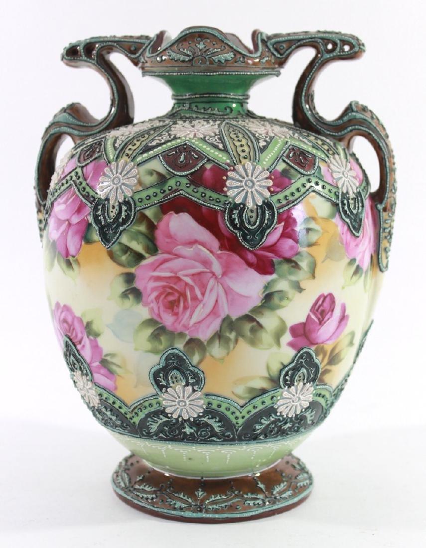 Nippon Moriage Floral Vase