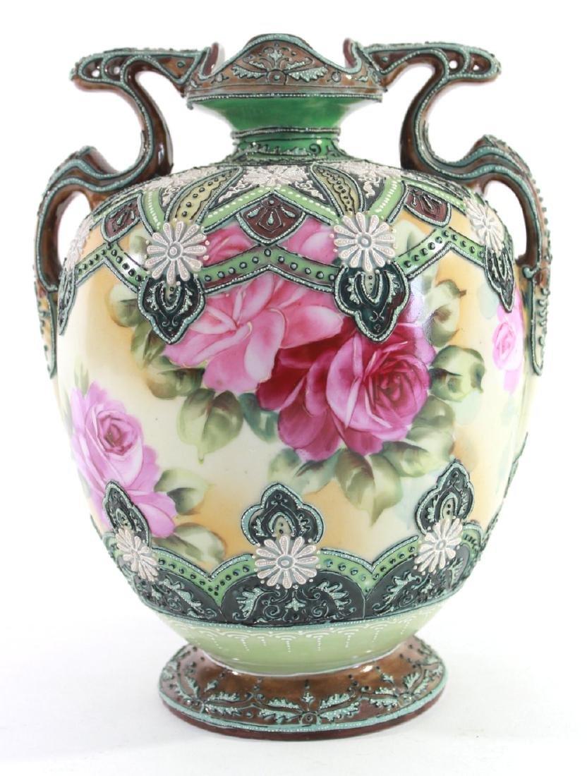 Nippon Moriage Floral Vase - 2