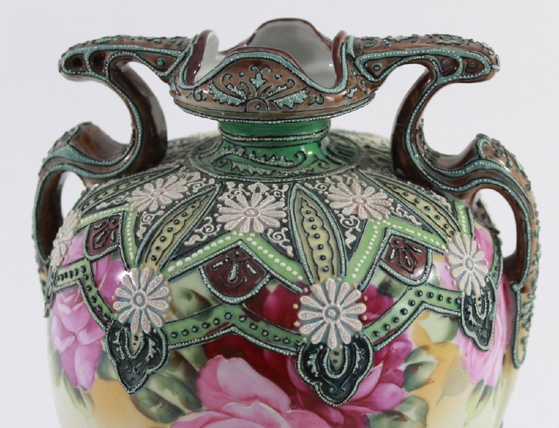 Nippon Moriage Floral Vase - 3