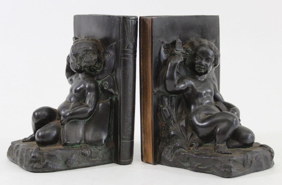Pair Vintage Ronson Cherub Bookends - 2