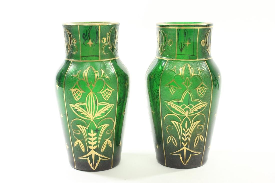 Pair Czech Green Glass Etched & Gilded Vases
