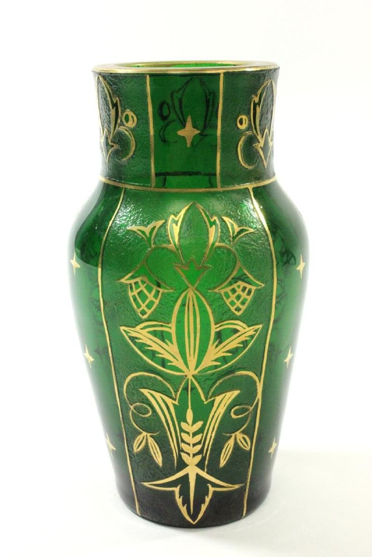 Pair Czech Green Glass Etched & Gilded Vases - 2